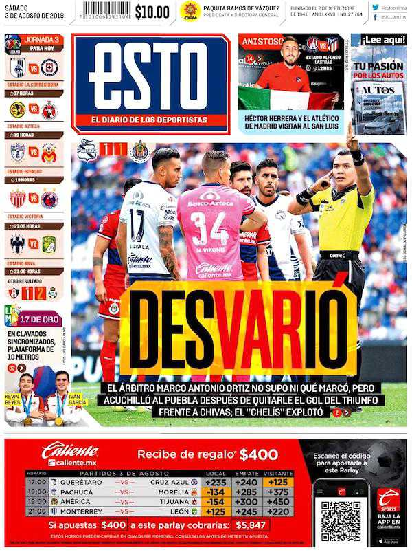 portadas de deportes 3 de agosto