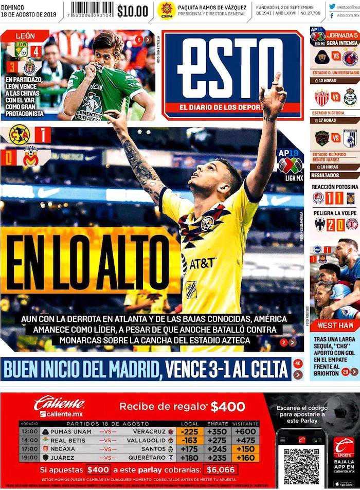 portadas de deportes 18 de agosto