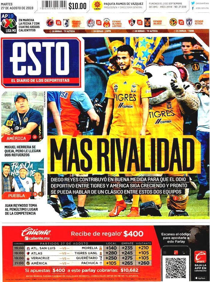 portadas de deportes 27 de agosto 2019