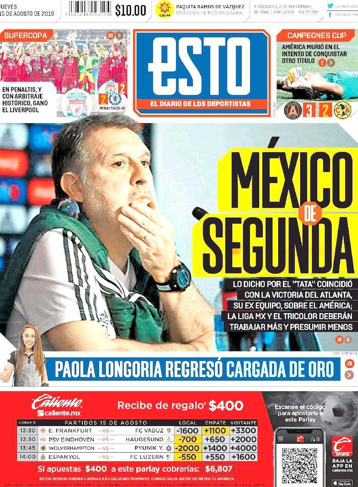 portadas de deportes 15 de agosto
