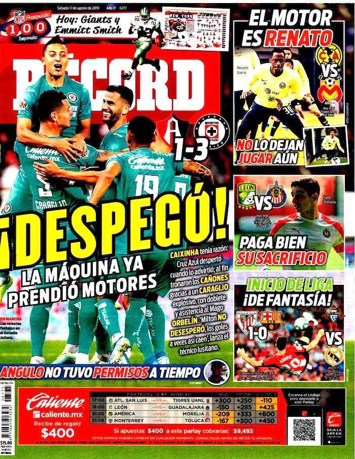 portada de deportes 17 de agosto