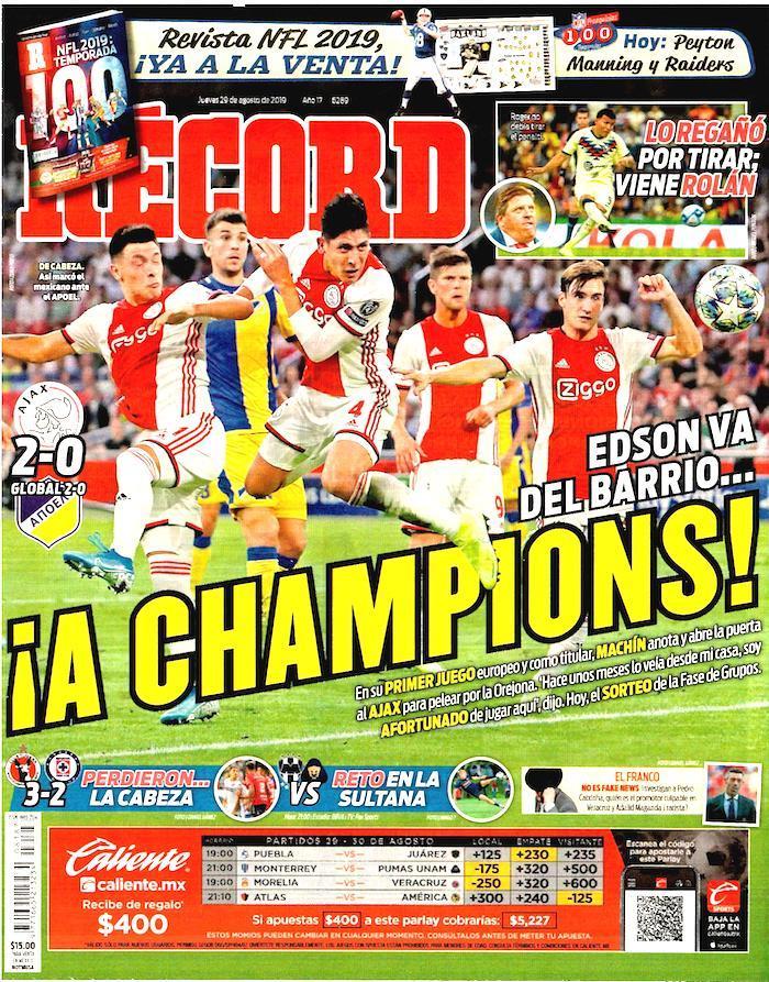 portadas de deportes 29 de agosto