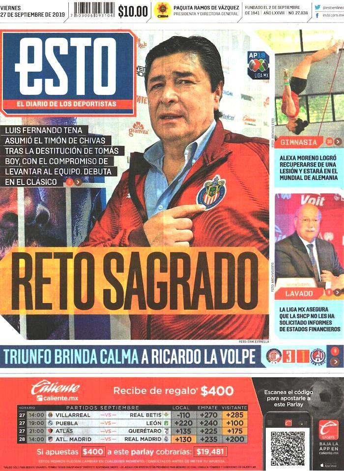portadas de deportes 27 de septiembre