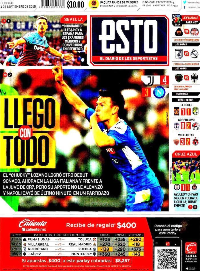 portadas de deportes 1 de septiembre