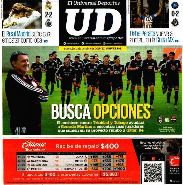 portadas de deportes 2 de octubre