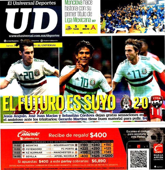 portadas de deportes 3 de octubre