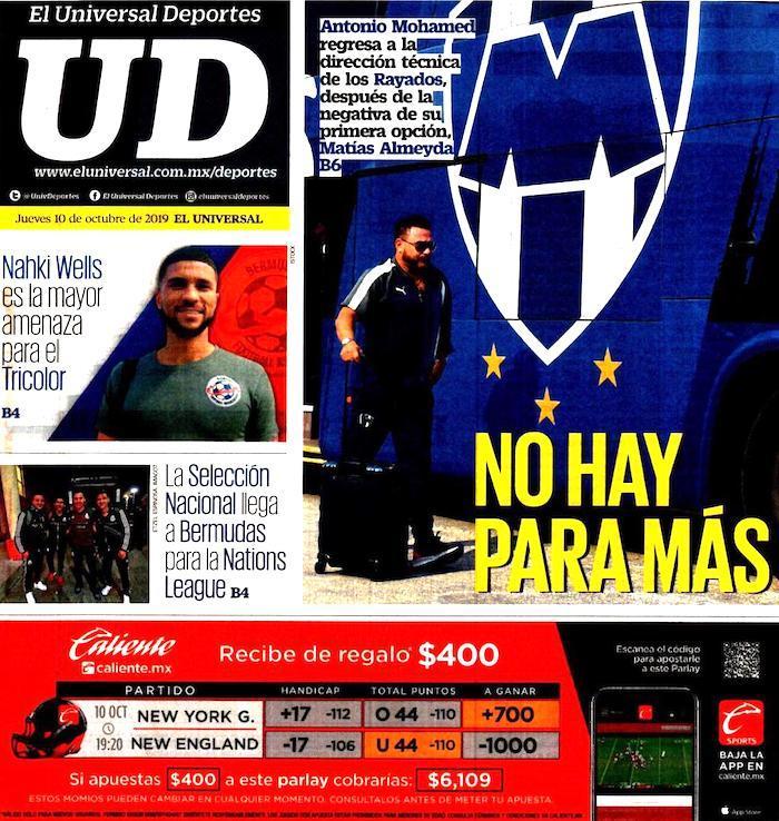 portadas de deportes 10 de octubre de 2019