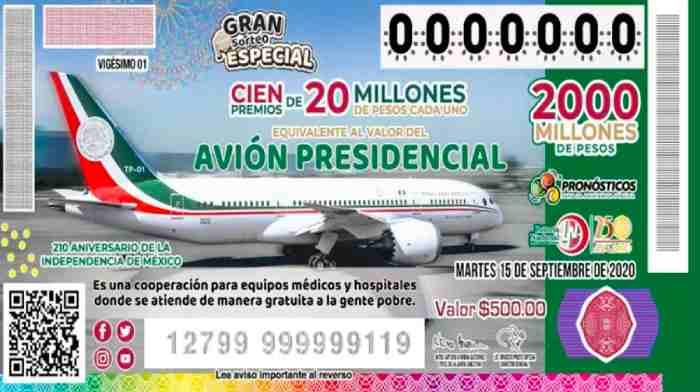 Cuándo es la rifa del Avión Presidencial y la venta de cachitos